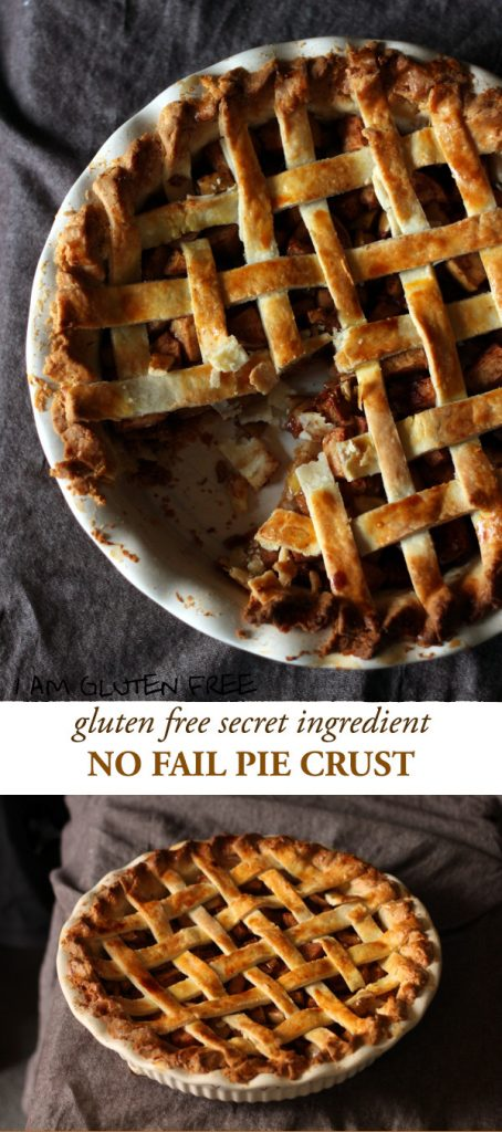 Gluten free no fail pie crust with a secret ingredient! From pot pies to custards to fruit pies, this crust can handle all your pie-making needs!
