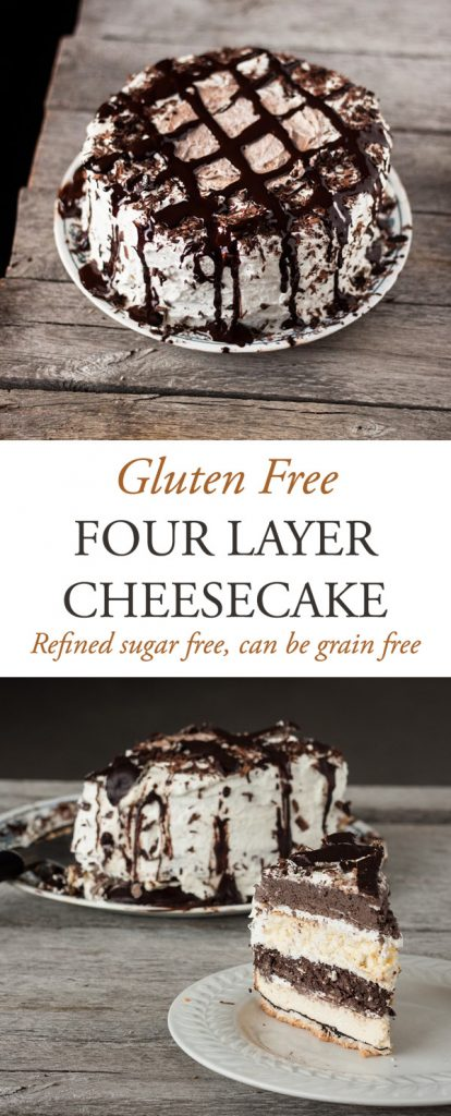 Delicious and creamy gluten-free four layer cheesecake...a dessert certain to impress!