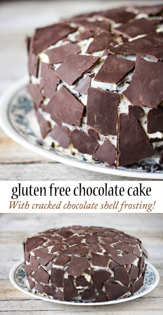 Gluten free chocolate cake with cracked chocolate shell frosting!