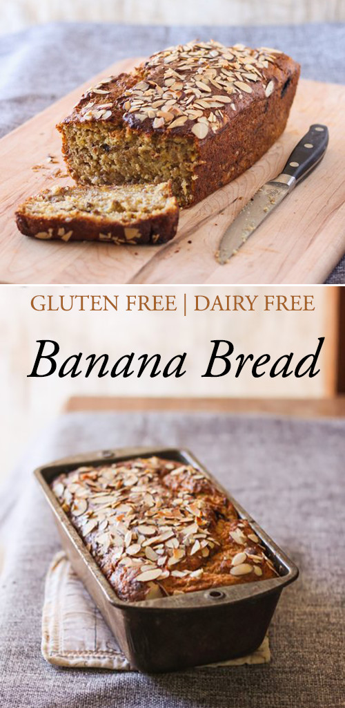 Gluten free & dairy free soft and moist banana bread recipe!