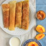 Gluten Free Crepes with Caramelized Peach Spread