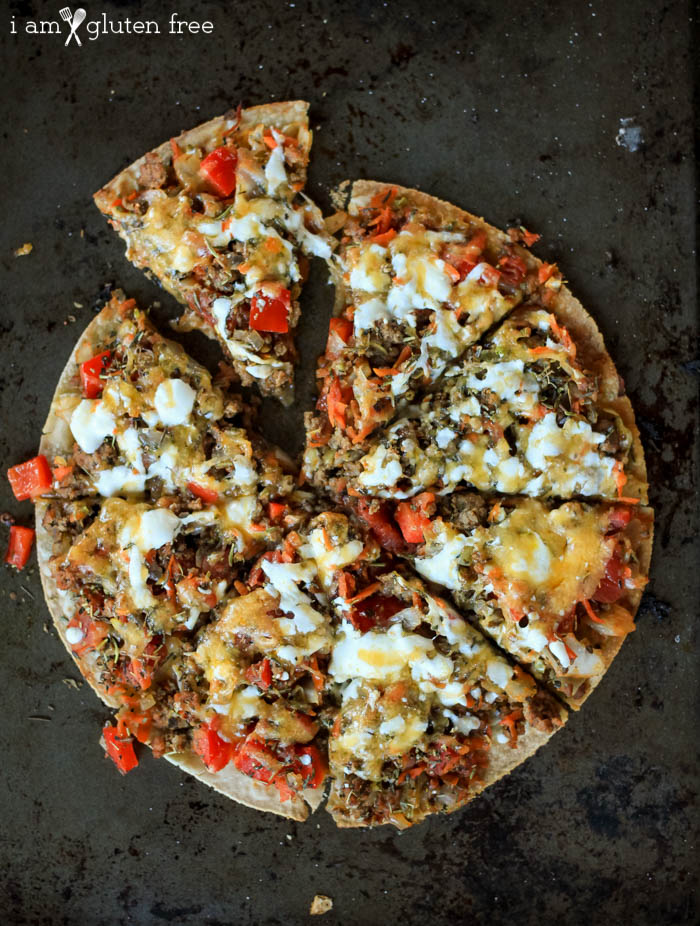 Gluten free easy lunch: Tortilla pizza