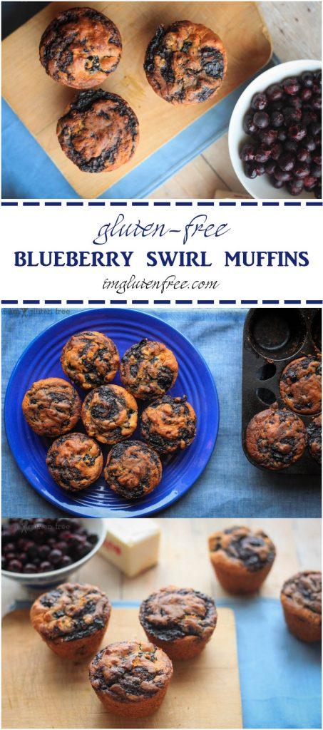 Delicious gluten-free blueberry swirl muffins for breakfast! | imglutenfree.com