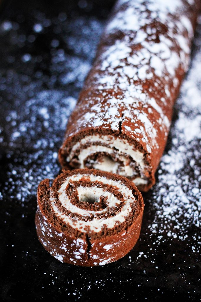 Gluten Free and paleo friendly chocolate roulade
