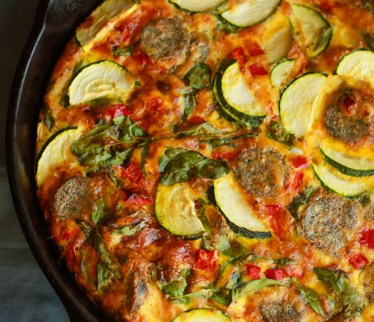 Sausage, Pepper & Tomato Breakfast Frittata (dairy free options available)
