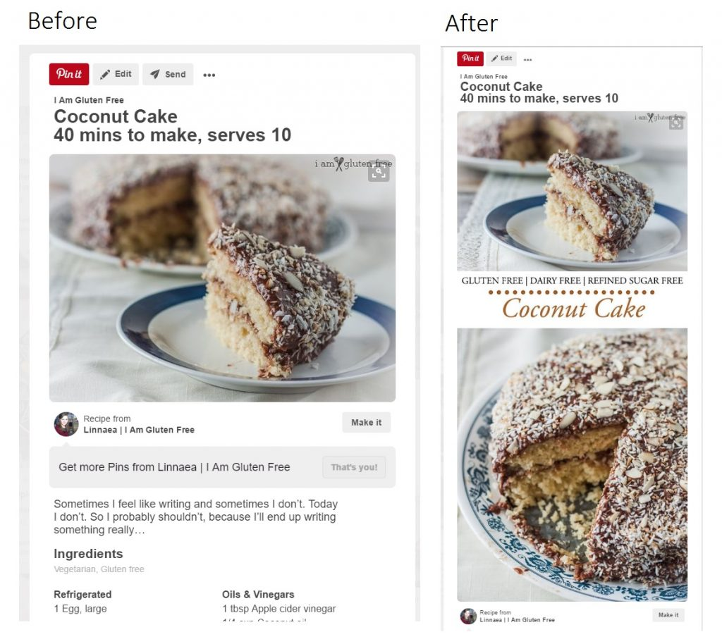 Pinterest pins before and after