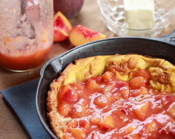 Dutch Baby Recipe with Vanilla Peach Sauce