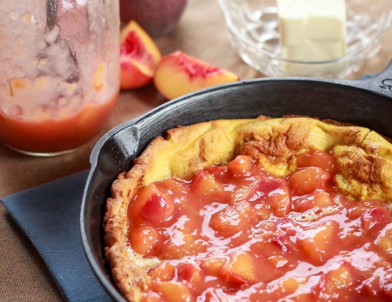 Dutch Baby Recipe with Vanilla Peach Sauce - I Am Gluten Free