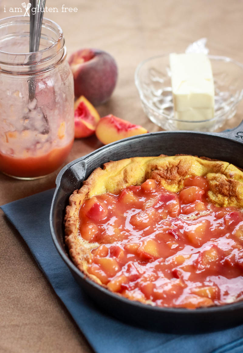 Dutch Baby Recipe with Vanilla Peach Sauce