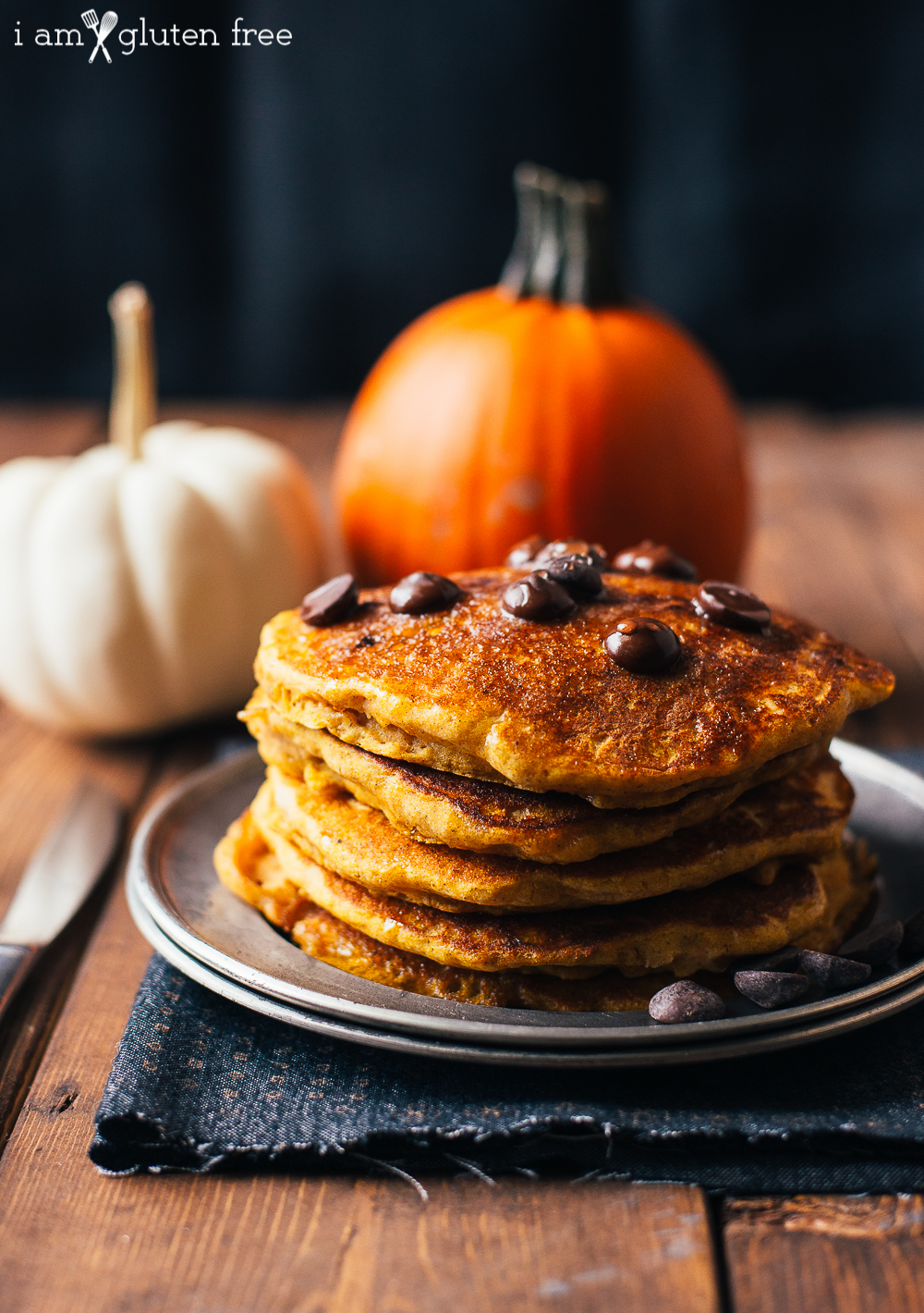 These easy fluffy gluten free pumpkin pancakes with chocolate chips make a perfect fall breakfast!