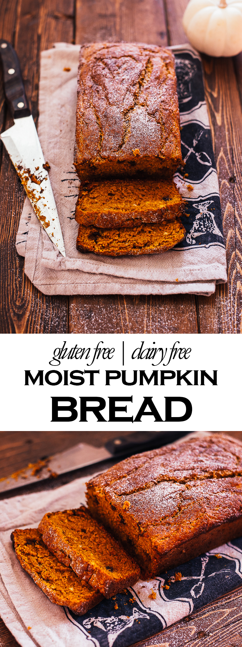 This dairy free and gluten-free pumpkin bread is sure to satisfy all your fall cravings! Soft, moist, fluffy, and delicious, no one will know that this is gluten-free! gluten free bread | gluten free pumpkin bread | dairy free bread | dairy free pumpkin bread | fall desserts | fall recipes | gluten free fall recipes